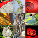 Square collage of asian photos Stock Photography
