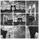 Square collage of the Brooklyn bridge Stock Image