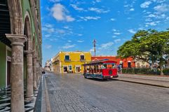Square and colonial buildings in Campeche, Mexico stock photo