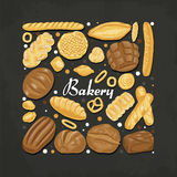 square of colored bakery products. Vector illustration for your design Stock Image