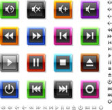 Square colored media buttons Royalty Free Stock Photos