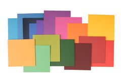 Square colored paper. It ia a pile of colored paper Stock Photo