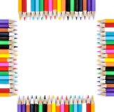Square of colored pencils isolated on white background Royalty Free Stock Photography