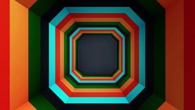 Square colored tunnel. Abstract animation of a square multicolored tunnel stock illustration