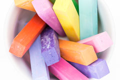 Square colorful pastel chalks tops closeup Royalty Free Stock Image