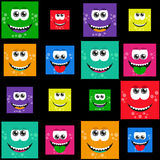 Square colorful smiles - vector set or pattern Stock Images