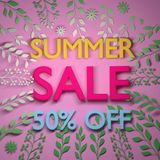 Square Colorful Summer Sale Banner with summer leaves. Square summer sale banner with big text and plant leafs in vibrant colors. 3d illustration royalty free illustration