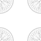 Square coloring book cover or background illustration with mandala ornament Royalty Free Stock Photo