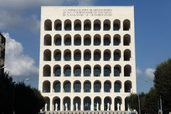Square Colosseum in the EUR District in Rome, Lazio, Italy. Royalty Free Stock Images
