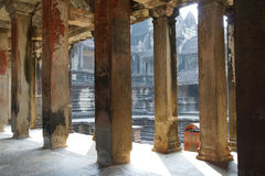 Square columns of the inner galleries Stock Photography