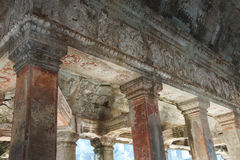 Square columns of the inner galleries Stock Photos