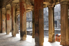 Square columns of the inner galleries Royalty Free Stock Image