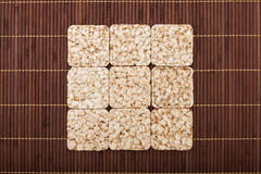 Square composition of nine crunchy rye crispbreads Royalty Free Stock Photography