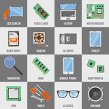 Square Computer Service Icon Set Stock Images