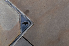 Square Concrete Sewer Manhole Cover Steel Frame Stock Images