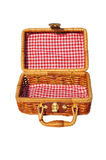 Square; containerbox; box, open. Suitcase for a picnic, barbecue or trip to the sea; locking clasp; braided and light stock photo