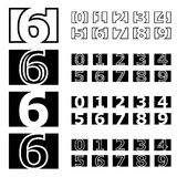 Square contour numbers font Royalty Free Stock Photo