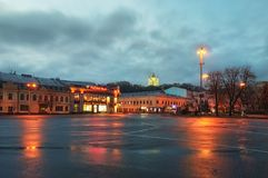 Square of Contracts is known since the Kievan Rus` times as an important part of the Podil merchant neighbor. KYIV, UKRAINE-DECEMBER 03, 2017: Square of Royalty Free Stock Photo