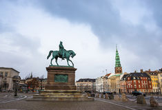 Square in Copenhagen, Denmark, Scandinavia. Square in european capital in winter rainy day Stock Image
