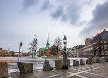 Square in Copenhagen, Denmark, Scandinavia. Square in european capital in winter rainy day Royalty Free Stock Images