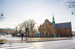 Square in Copenhagen, Denmark, Scandinavia. Square in european capital in winter rainy day Royalty Free Stock Image
