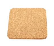Square cork textured coaster isolated Stock Images