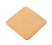 Square cork textured coaster isolated Royalty Free Stock Image