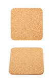 Square cork textured coaster isolated Royalty Free Stock Images