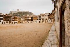 Square of Coso, Peñafiel, Castilla y Leon, Spain and Castle of Peñafiel royalty free stock image