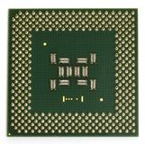 Square CPU. CPU view from the top, showing pins Royalty Free Stock Image