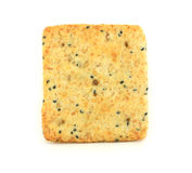 Square cracker. Golden cracker with spices and seeds Stock Photo