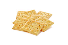 Square crackers with sugar isolated on white Stock Photo