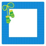 Square crocheted frame, decorated with mittens. For decors. Vector EPS10 Royalty Free Stock Images