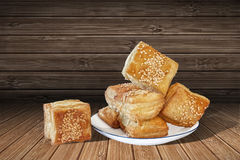 Square Croissant Puff Pastry Set On Rustic Bamboo Place Mat Background Stock Image