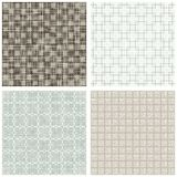 Square cross hatch clover scrapbook backgrounds. Blue beige brown white square cross hatch clover winter colors geometric seamless pattern set of scrapbook Royalty Free Stock Photography