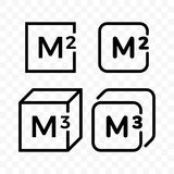 Square and cubic meters vector line icons vector illustration