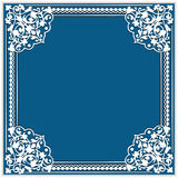 Square cutout paper frame with lace corner ornament Royalty Free Stock Photo
