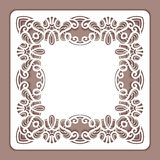 Square cutout paper lace frame Royalty Free Stock Image