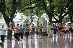 The Square dance of the elderly in GUILIN Stock Photo