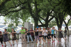 The Square dance of the elderly in GUILIN Royalty Free Stock Photo