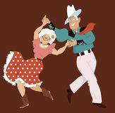 Square dance. Mature couple dressed in traditional western costumes dancing square dance or contradance, EPS 8 vector illustration, no transparencies stock illustration