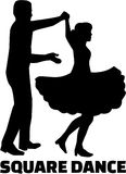 Square dance silhouette with word Stock Image