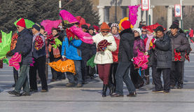 Square dancing in northeast China Stock Images
