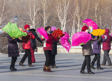 Square dancing in northeast China Stock Photo