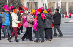 Square dancing in northeast China Stock Photos