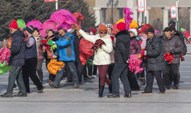 Square dancing in northeast China Royalty Free Stock Photo