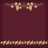 Square dark red background. With pattern and grape ornament Stock Photography