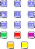 Square Dashboard Buttons Stock Photo