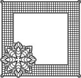 Square decorative frame with abstract flower. Style mosaic, mosa. Ic tiles Stock Image