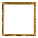 Square decorative golden picture frame Royalty Free Stock Images